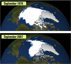 The Arctic ice has been thinning and dramatically decreasing for a long time now. This is caused by global warming.